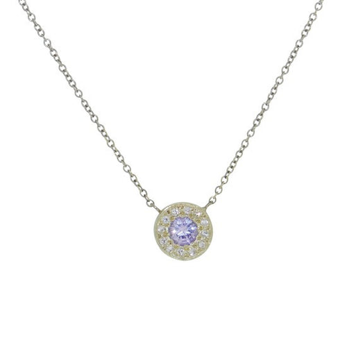 Lilac sapphire and diamond disc necklace