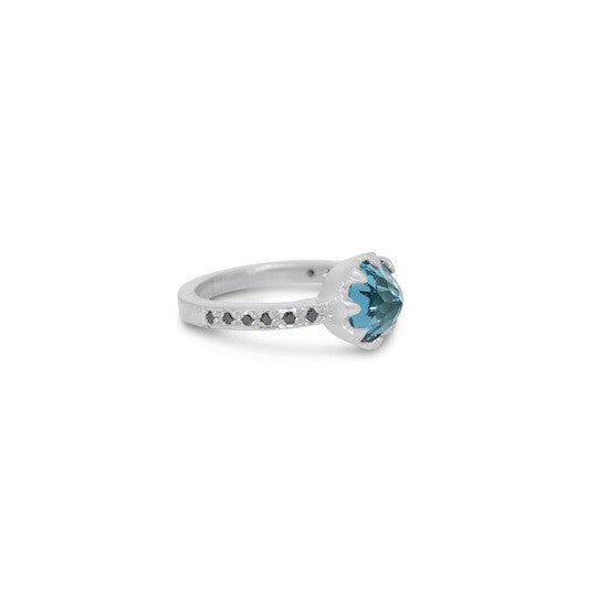Inverted topaz and black diamond crown ring