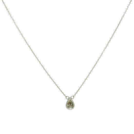 Pear grey diamond necklace