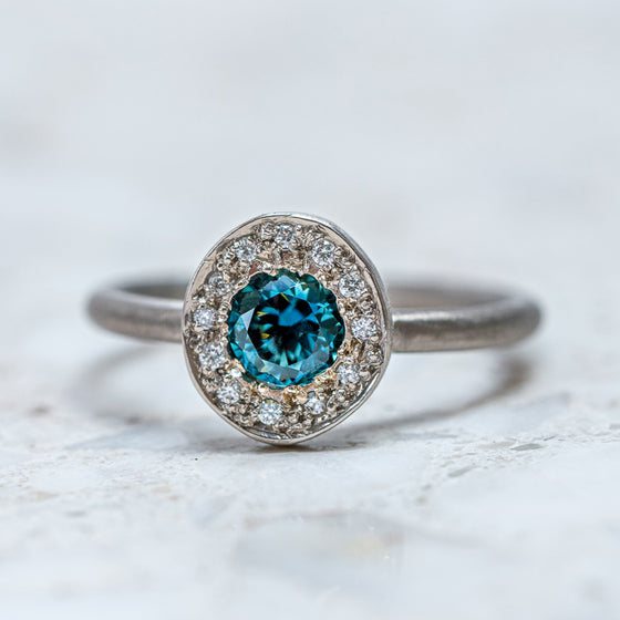 Teal Sapphire and Diamond Pebble Ring