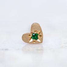 Emerald Mini Heart Stud