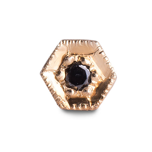 Black diamond hexagon stud