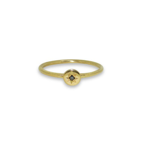 Star set diamond mini dot stacking ring