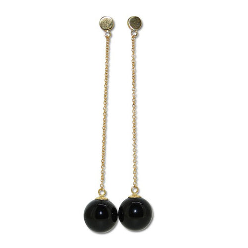 Onyx ball and chain earrings