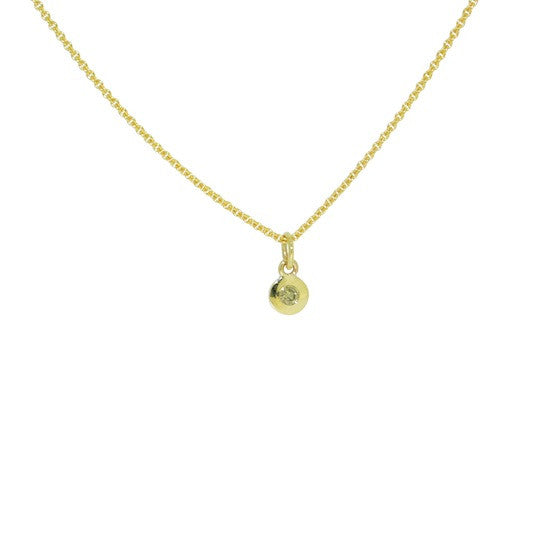Yellow Gold Gypsy Set Cognac Diamond Disc Necklace
