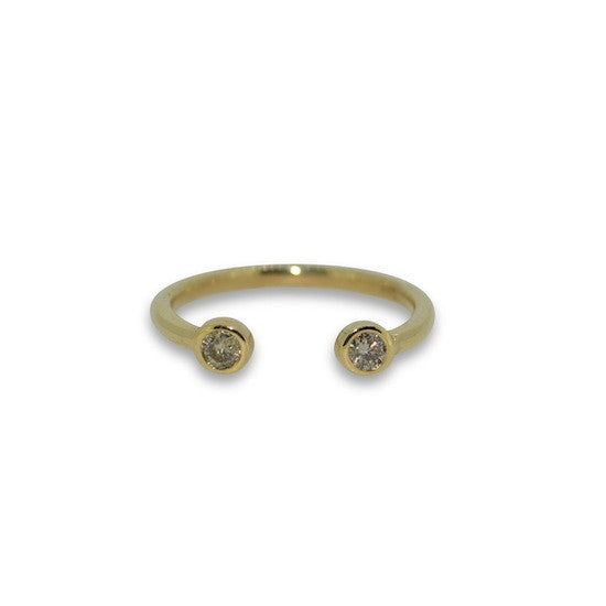 O-ring champagne diamond fine band