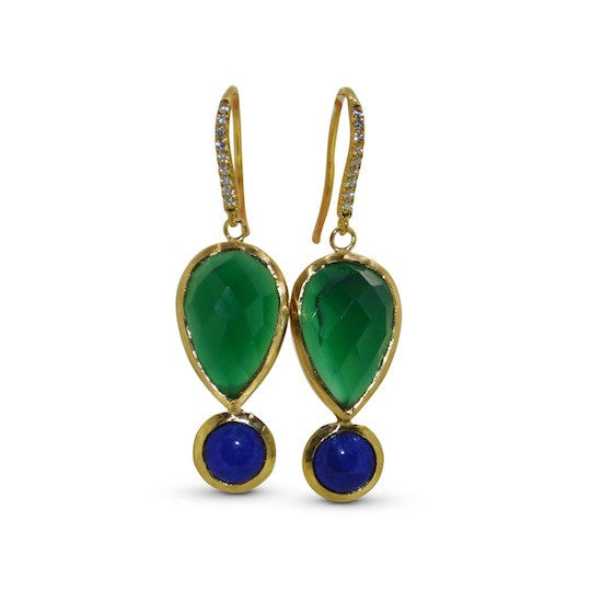 Cleopatra green onyx and lapis drops