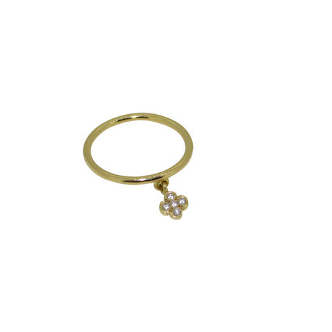 Diamond daisy charm ring