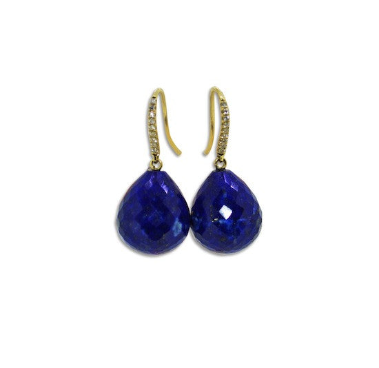 Lapis and diamond drop earrings