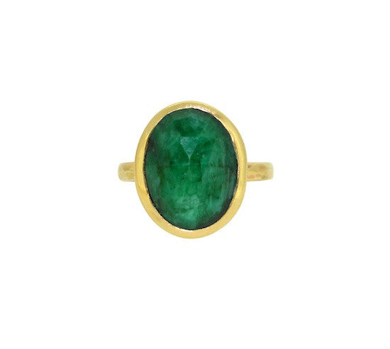 Rose cut emerald slab ring