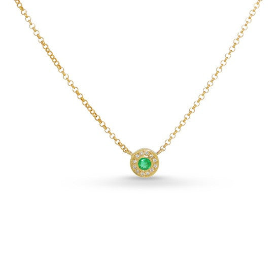 Emerald and diamond disc necklace