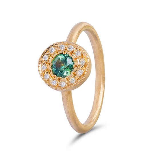 Green Sapphire and Diamond Pebble Ring