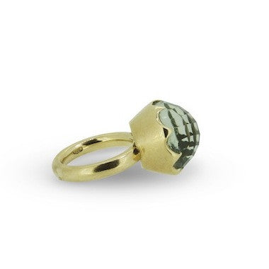 Crown Cocktail Ring with green amethyst