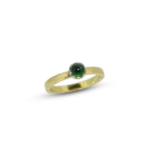 Tourmaline and hammered band stacking ring