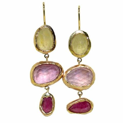 Multi colour sapphire Le Bohemien earrings