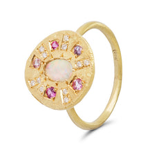 Opal and Pink Sapphire Sun Ray Ring