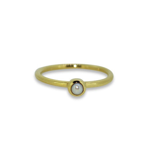 Stacker Ring - Yellow Gold and Pearl