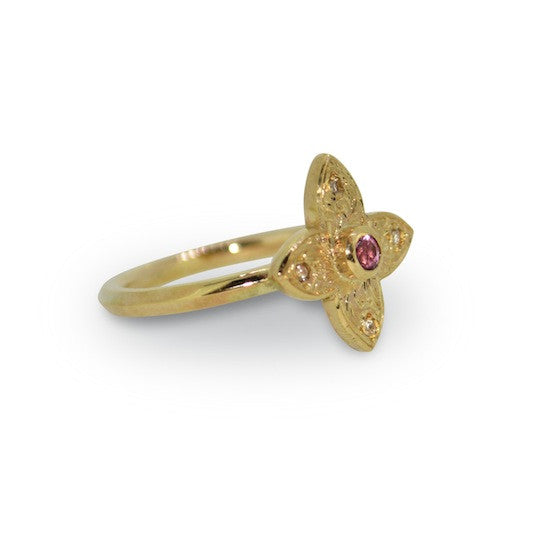 Pink sapphire and diamond bishop's ring