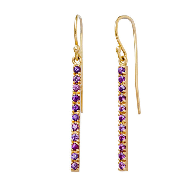 Purple sapphire stick earrings