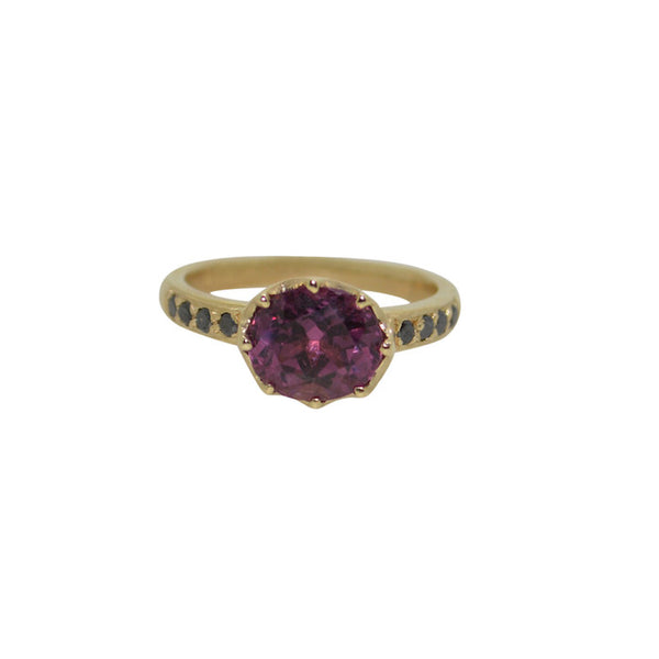 Rhodolite and black diamond crown ring