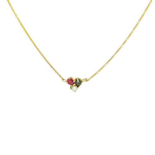 Jolie triple cluster black diamond, ruby and pearl necklace