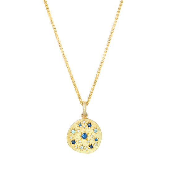 Shades of Blue Constellation Disc Necklace
