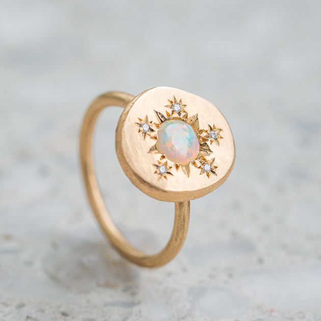 Opal and Diamond Snowflake Pebble Ring
