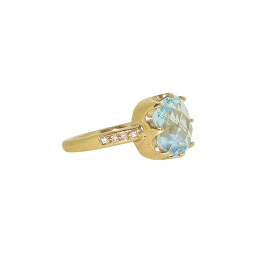 Topaz and diamond crown cocktail ring