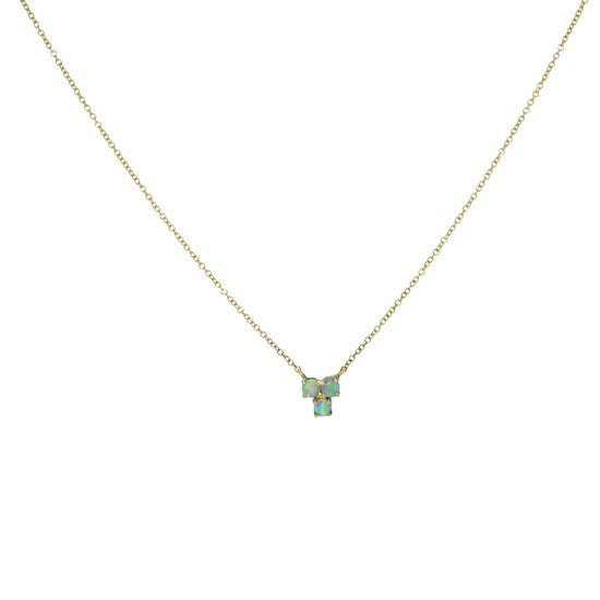 Australian opal triple cluster necklace