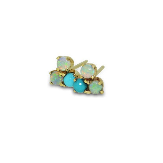 Triple Stud with Australian Opal and Turquoise
