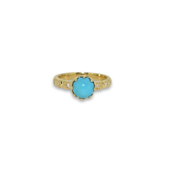 Turquoise and diamond crown ring