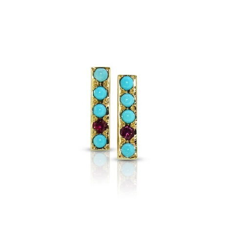 Turquoise and Ruby Bar Earrings