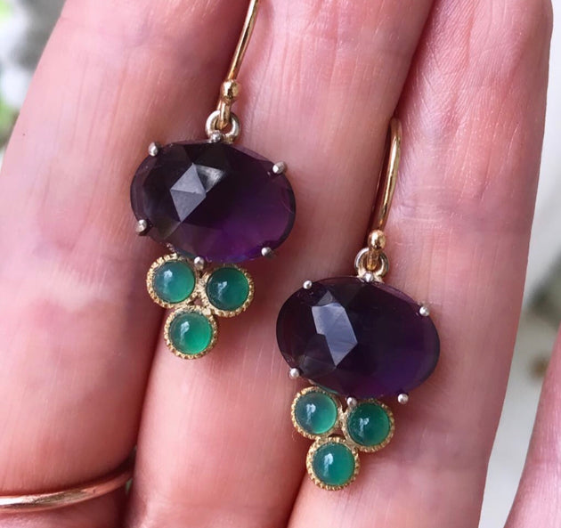 Amethyst and chrysoprase grape earrings
