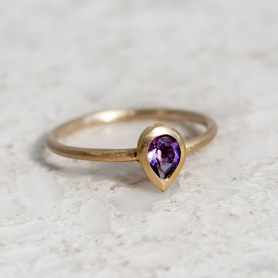 Pear Shape Amethyst Stacking Ring