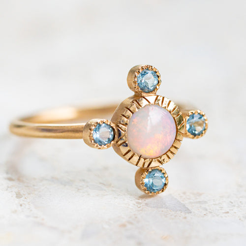 Royale Opal and aquamarine ring