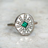 Emerald and Diamond Sun Ray Ring