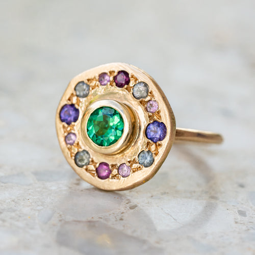 Green tourmaline Roman Pebble Ring