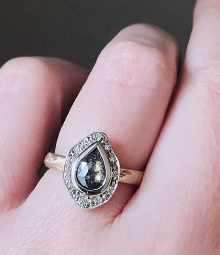 Salt and pepper diamond halo pebble ring