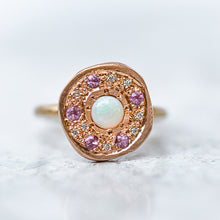White Opal, Pink Sapphire and Diamond Pebble Ring