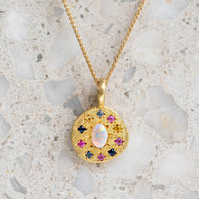 Opal Starburst Disc Necklace