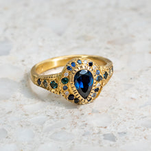 Shades of Blue Sapphire Roman Ring