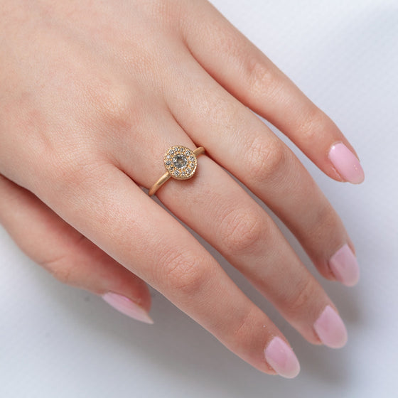 Salt & Pepper Diamond Pebble Ring