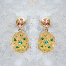 Emerald And Pink Sapphire Splatter Earrings