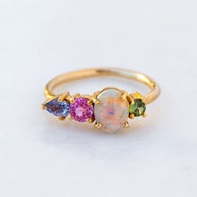 Black Opal And Sapphire Splice Ring