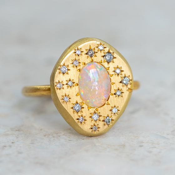 Starburst Opal Pebble Ring