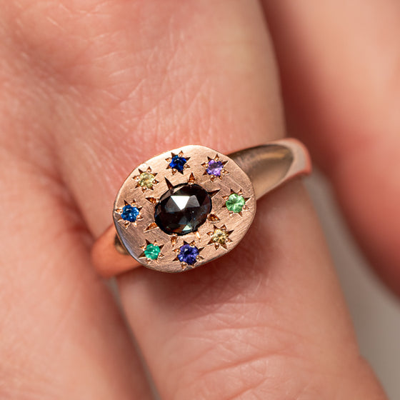 Sun And Stars Signet Ring