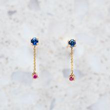 Sapphire and Ruby Waterfall Studs