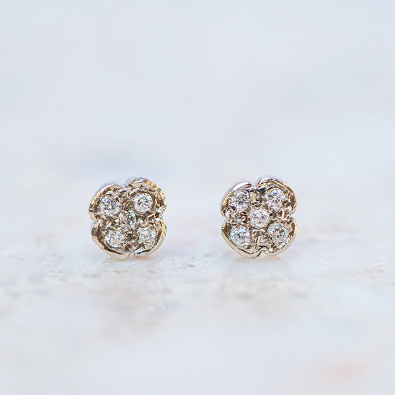 Diamond flower studs