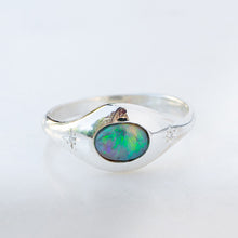 Black opal orbit ring