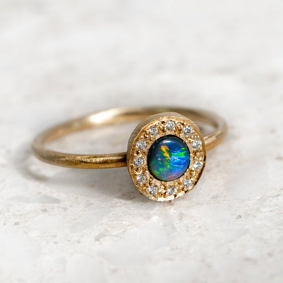 Black Opal and Diamond Pebble Ring